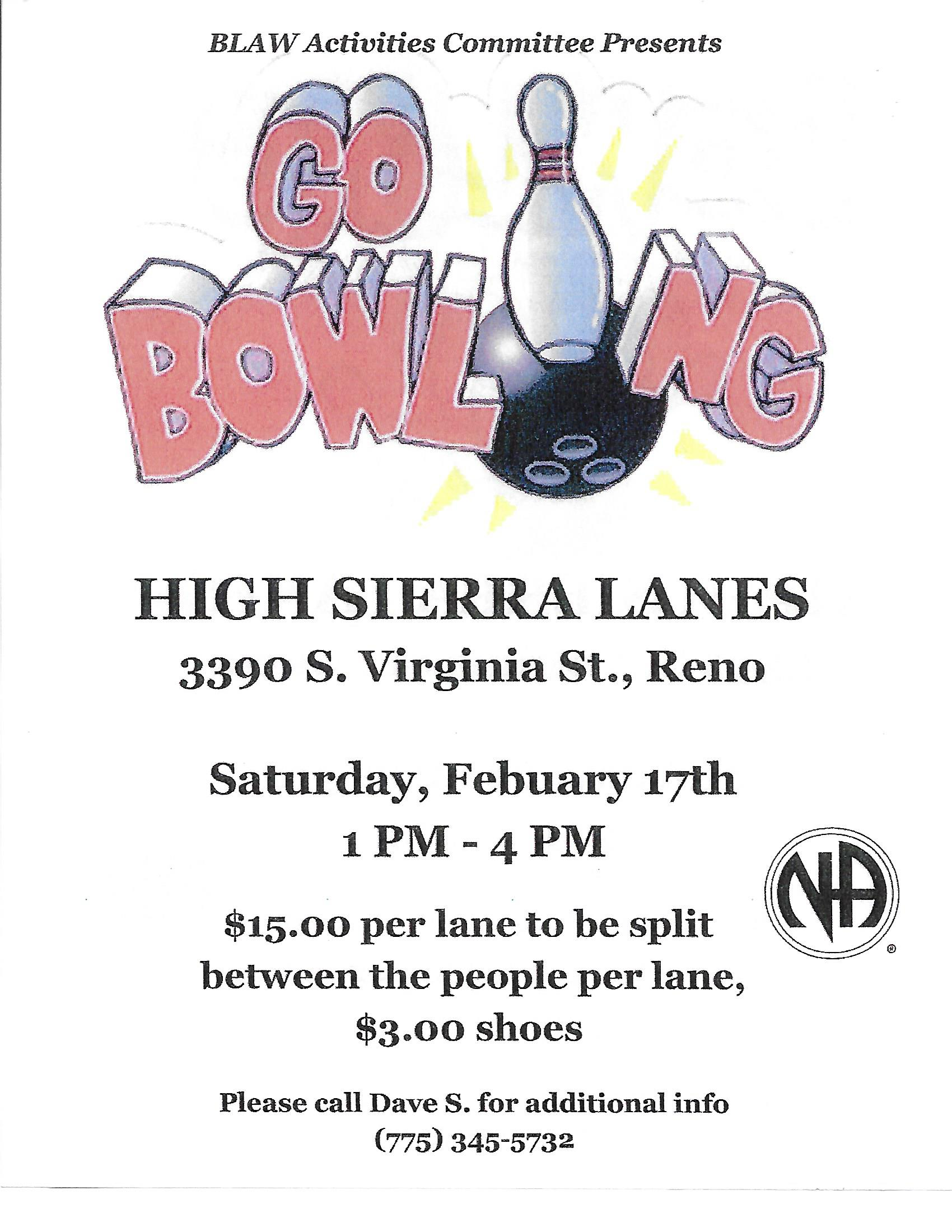 "BLAW Activities presents ""Bowling"" @ High Sierra Lanes 