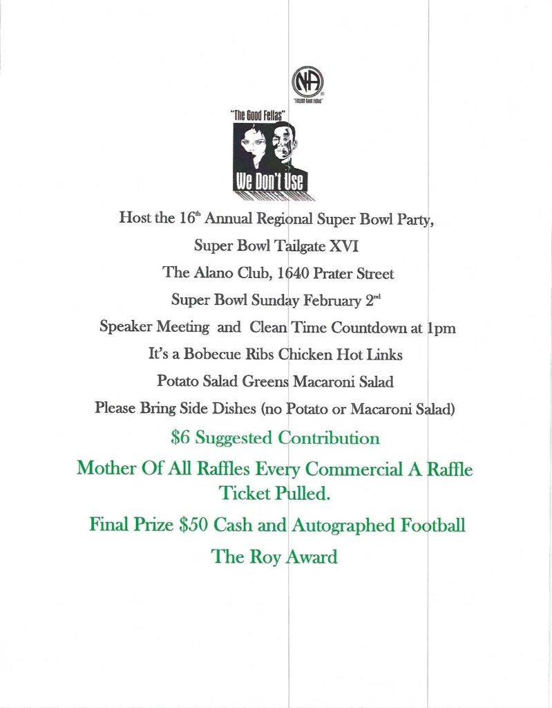 """Fallon Good Fellas presents 16th Annual """"Superbowl Tailgate Party"""" @ Alano Club of Sparks Nevada 
