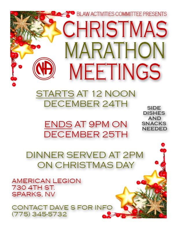 BLAW - Christmas Holiday Marathon Meetings @ American Legion Hall | Sparks | Nevada | United States