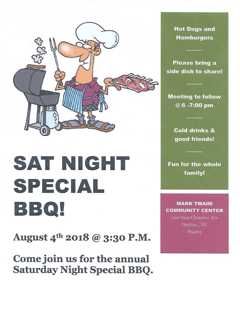 RNA - Saturday Night Special BBQ @ Mark Twain Community Center | Dayton | Nevada | United States