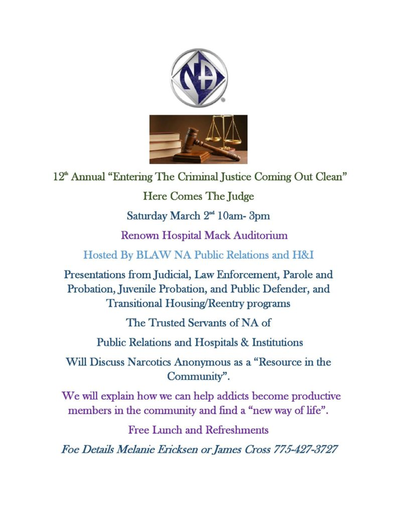 "BLAW PR and H&I Presents ""Entering the Criminal Justice System, Coming Out Clean."" @ Renown Medical Center 