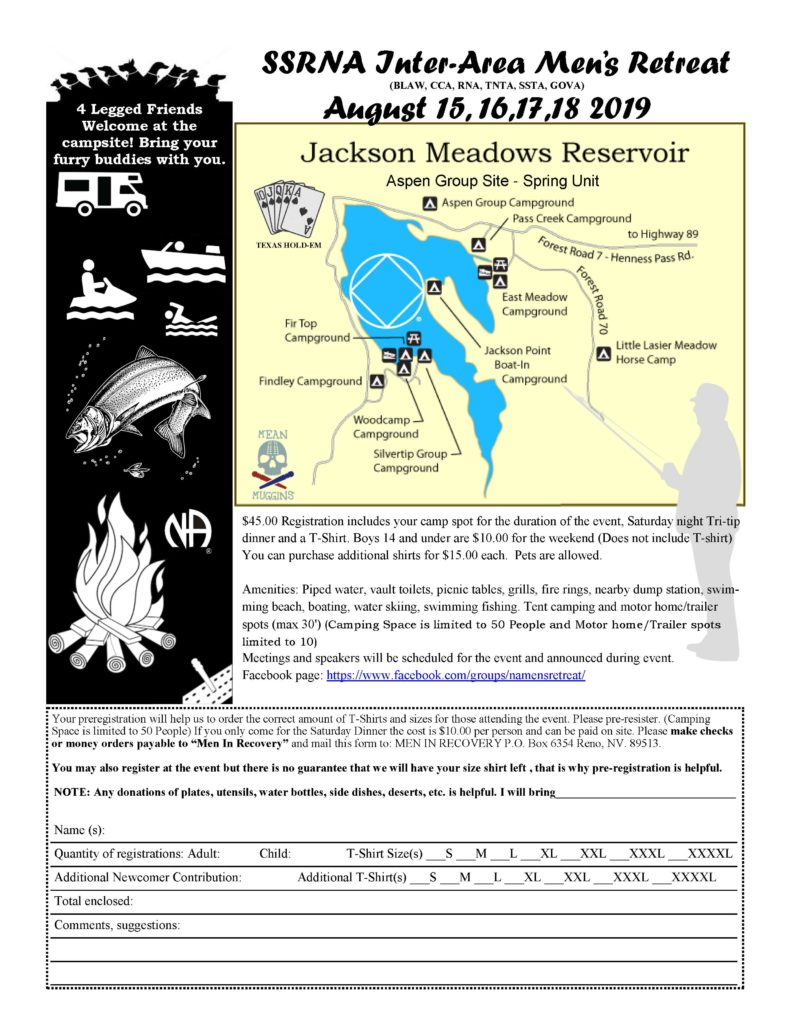 """CANA - Saturday Night Men's Meeting - """"Men's Retreat"""" @ Jackson Meadows Reservoir in Tahoe National Forest   California   United States"""