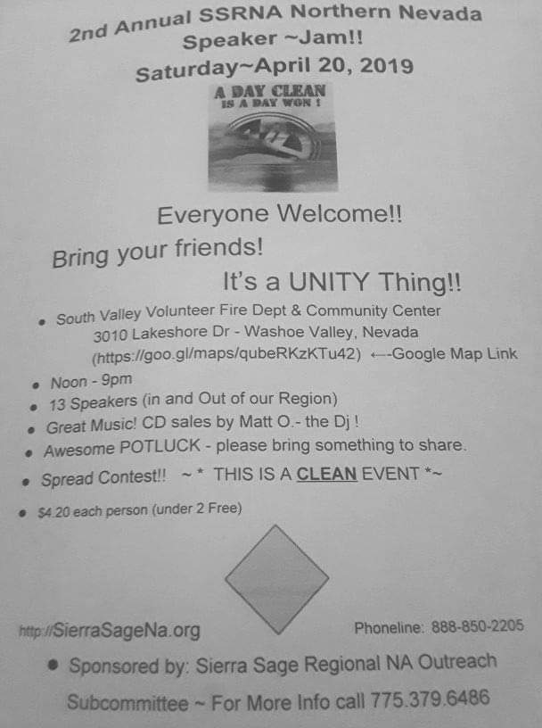 """SSRNA Outreach and Unity Group present 2nd Annual """"420 Speaker Jam"""" @ South Valley Volunteer Fire Department & Community Center 