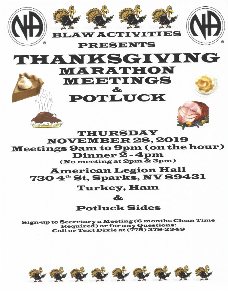 "BLAW Activities presents ""Thanksgiving Marathon Meetings"" @ American Legion Hall 