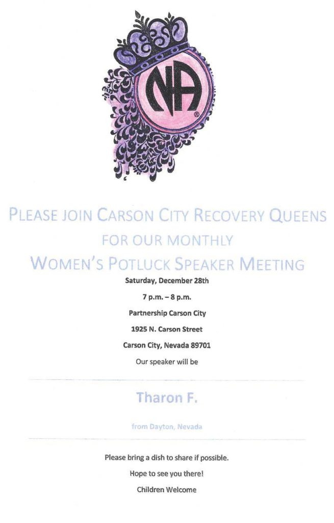 "Carson City Recovery Queen's ""Women's Potluck/Speaker Meeting @ Partnership Carson City 